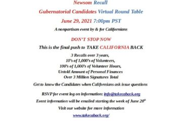 Newsom Recall Gubernatorial Candidates Virtual Round Table